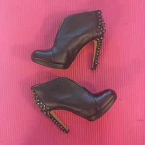 BCBG MAXAZRIA Spike Studded Leather Ankle Booties